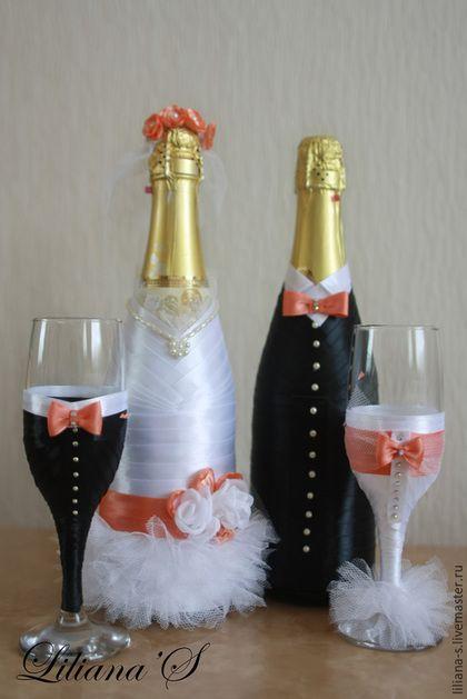 """Купить Свадебные аксессуары """"Персиковый Поцелуй"""" - персиковый, свадебные аксессуары, бокалы жених и невеста"""