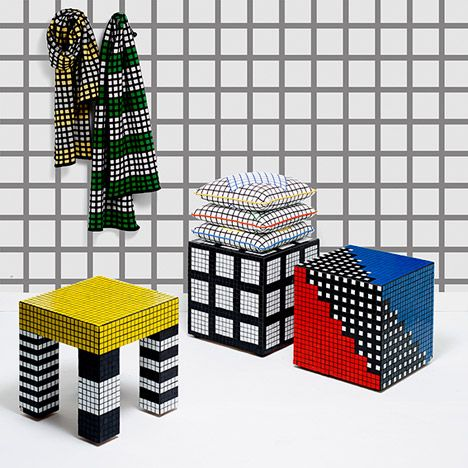 "Darkroom patterns furniture and accessories with Superstudio's ""anti-design"" grids."