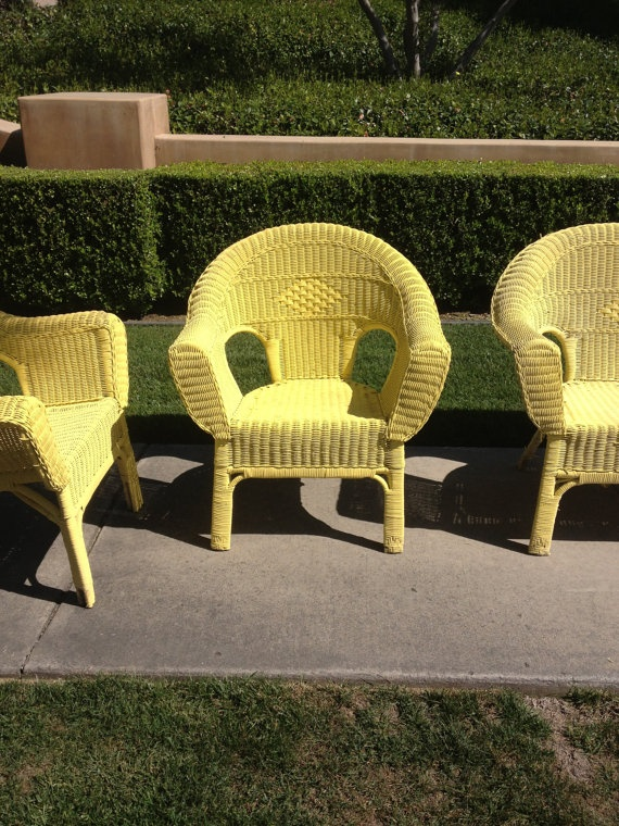 Yellow shabby chic patio set wicker vintage pickup by for Outdoor furniture yellow