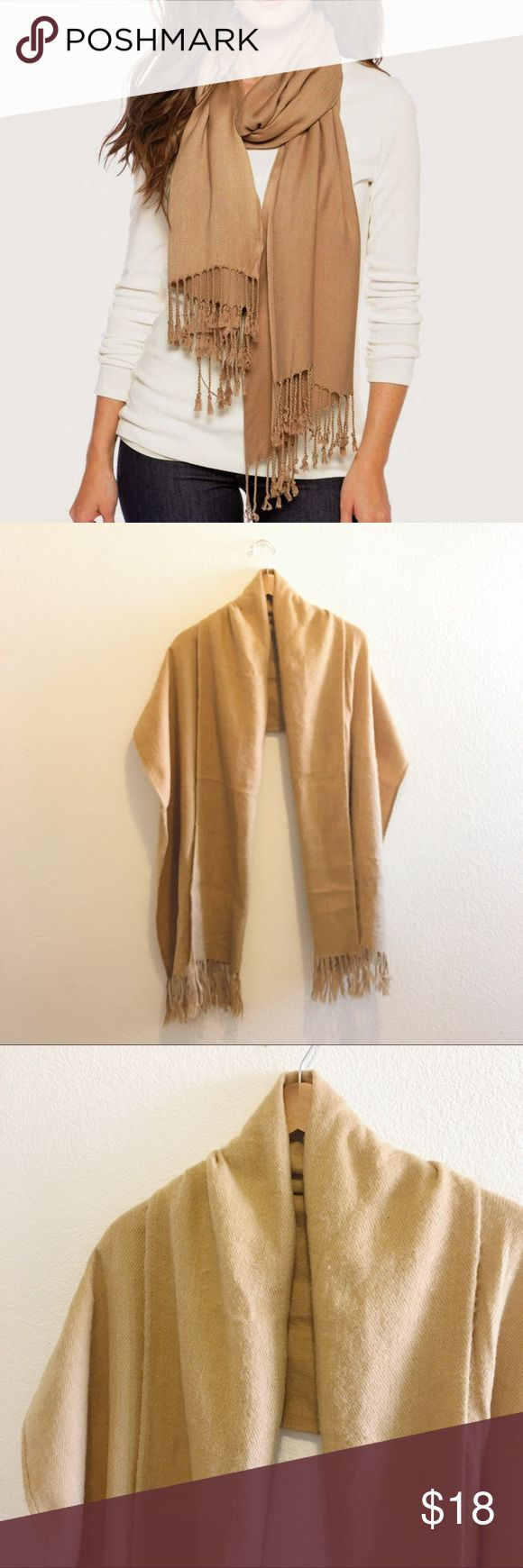 Chic Camel Scarf Chic and warm camel scarf. In okay used condition. Some fringe is not twisted, see last picture. But super cute when wear with a jacket. 💕 Accessories Scarves & Wraps