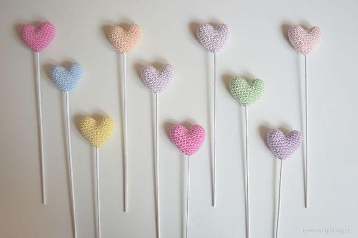 LiteVirkning - Virkade Bröllopshjärtan / virkade hjärtan (crochet) Mönster finns på svenska