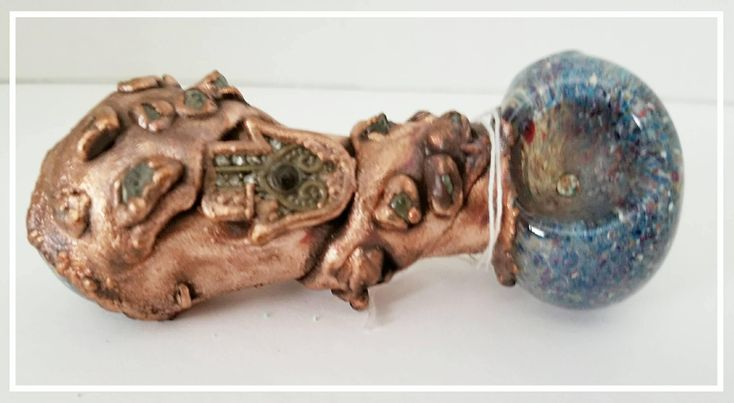Blue Frit, Hamsa, Chalcopyrite, Glass Tobacco Pipe Electroformed Pipe Pipes OOAK Unique Handmade Copper Pipes Gypsy Pipes