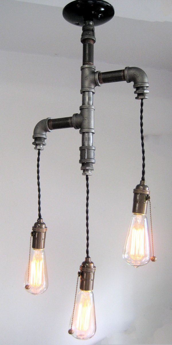 industrial custom rustic pipe and cloth cord chandelier. Black Bedroom Furniture Sets. Home Design Ideas