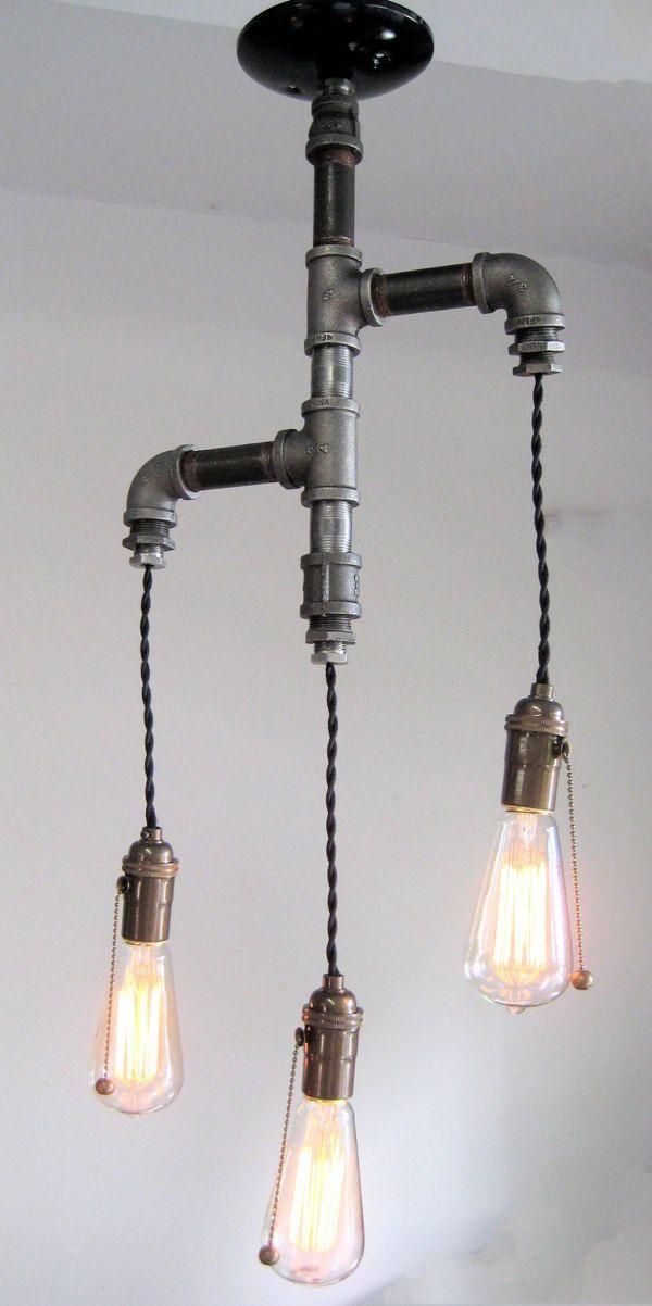 The Original- Industrial edison tiered trio pipe chandelier. $399.00, via Etsy.