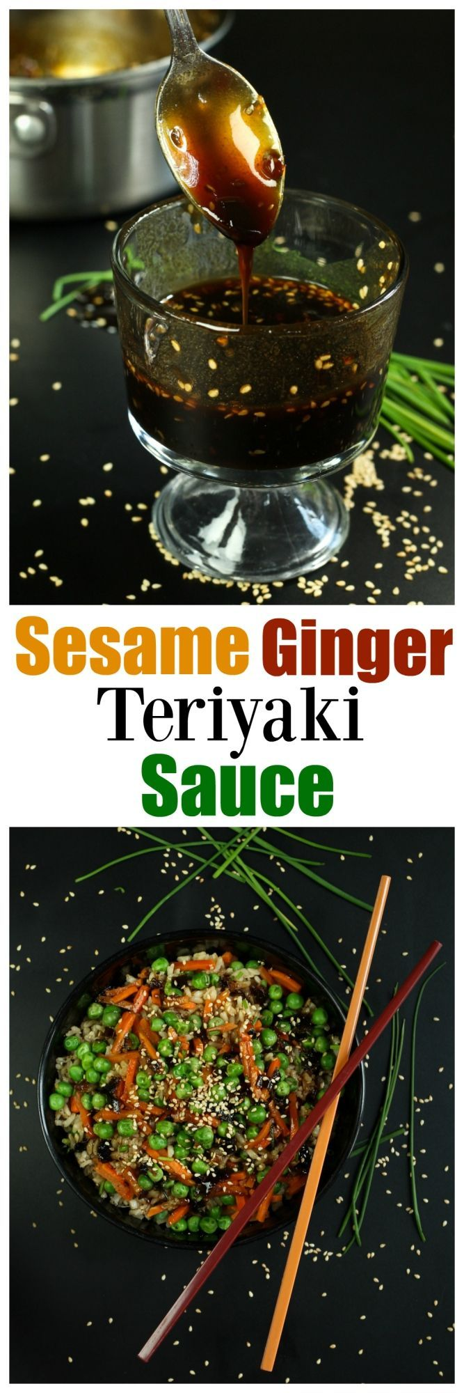 Homemade Sesame Ginger Teriyaki Sauce that will blow your mind. Fresh ginger, fresh garlic, fresh chives and toasted sesame seeds make this better than any storebought version out there.