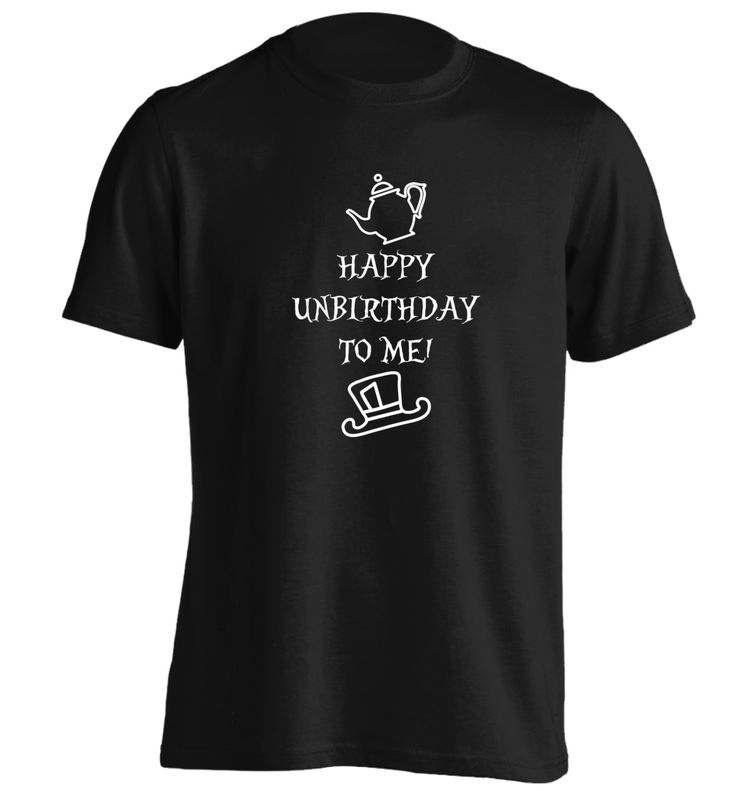 New to FloxCreative on Etsy: Happy unbirthday to me! Tshirt funny joke gift quote Alice book geek nerd instagram hipster cute tumblr red white grey black S - 5XL 64 (12.95 GBP)