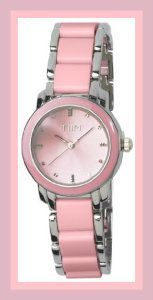 Ceramic Watches For WomenTiiM Pink Faux Ceramic Ladies and Girls Watch T228-SPK This watch has the ceramic look but the price….. It has an alloy and plastic link bracelet. It comes with a 1 year warranty. http://theceramicchefknives.com/ceramic-watches-women/