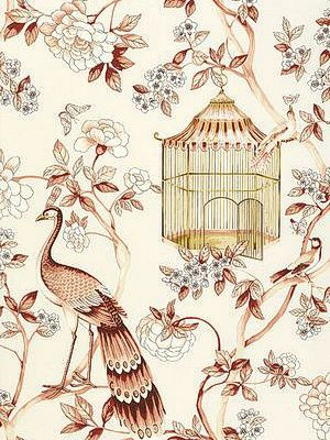 DecoratorsBest - Detail1 - Sch 5004082 - Oiseaux et Fleurs - Cinnabar - Wallpaper - DecoratorsBest