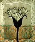 Allium Ostrowskianum by Kirsi Neuvonen. Line etching, aquatint, copy etching