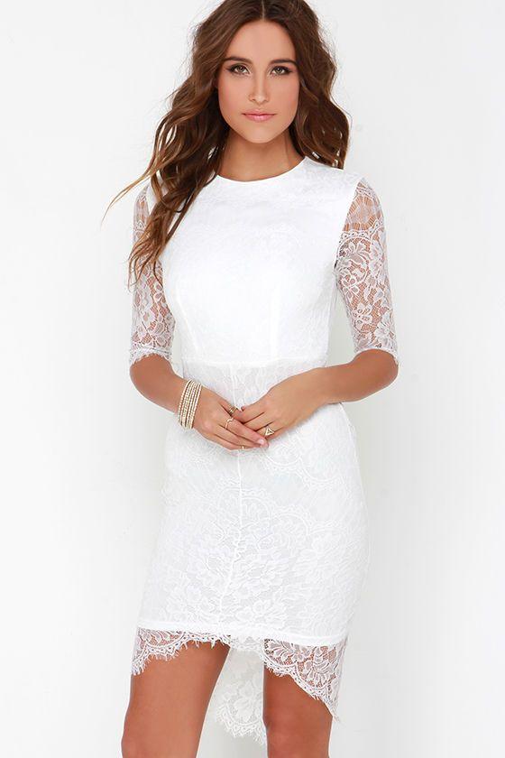 Angel Eyes White Lace Dress at Lulus.com! --> Rehearsal dinner dress!