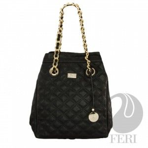 """FERI Day2Day Black Zana Purse. Take own of this Women's Oversized Polyurethane Purse With Quilted Top Stitching. - Gold toned chain (not recommended for hot climates) and PU leather handles - Magnetic snap closure with small zipper - Metal feet adorn the bottom of bag for  protection.  Sleek Custom FERI lining with zippered pouch and cellphone pockets - Dimension: 13.86"""" x 15.75"""" x 7.87"""""""