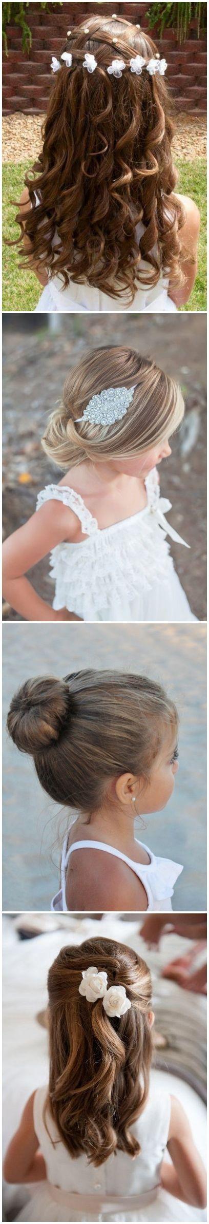 cute little girl hairstyles-updos, braids, waterfall / http://www.deerpearlflowers.com/super-cute-little-girl-hairstyles-for-wedding/ #braidedhairstylesforwedding #weddinghairstyles