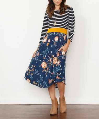 e060275af7cf Another great find on #zulily! Blue & Mustard Floral Midi Dress - Women &  Plus #zulilyfinds