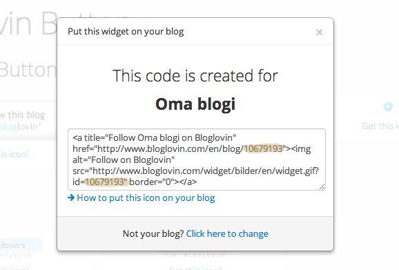 Liitä blogisi Bloglovin-palveluun