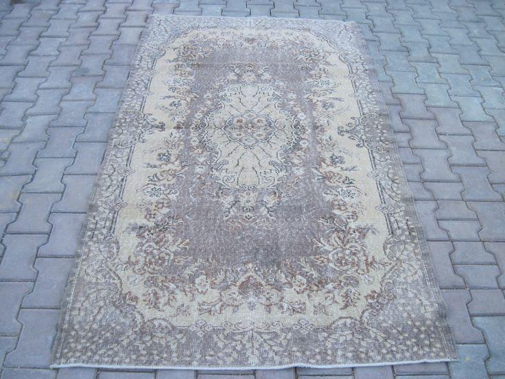 Turkish Rug 4.0x6.11 Feet 211x122 Cm Turkish Gray Rug Handmade Gray Rug Oushak Gray Rug Vintage Gray Rug Turkish Carpet Rug Gray Carpet Rug by Ebrarshops on Etsy
