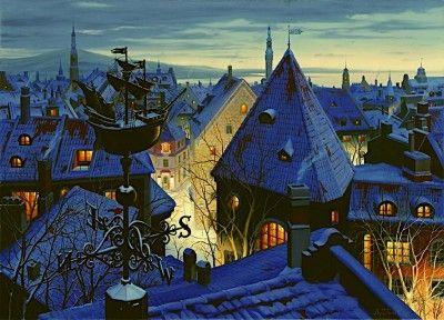 #город #крыши #декупаж #живопись  #пейзаж #ночь