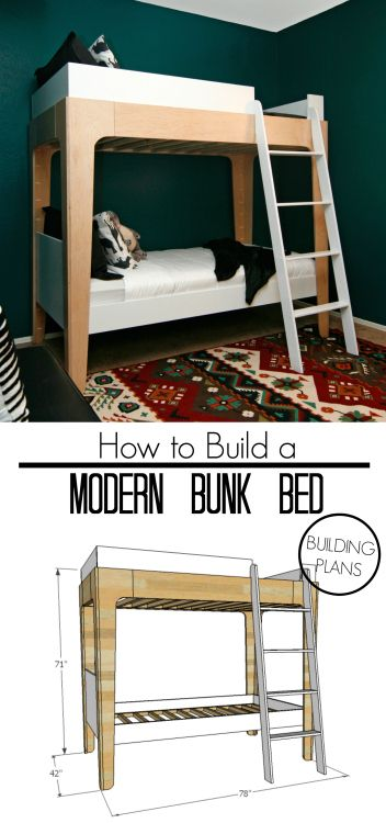 How to build modern bunk beds. Use FREE building plans to make a set of bunk beds with minimalist design.