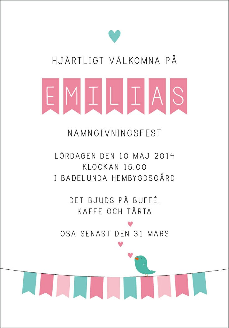 Anna Göran Design - Flaggspel Ett nytt inbjudningskort till dop, namngivning eller kalas...