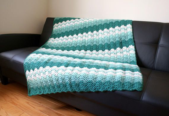 Ocean Waves Afghan Handmade Throw crochet blanket Bed