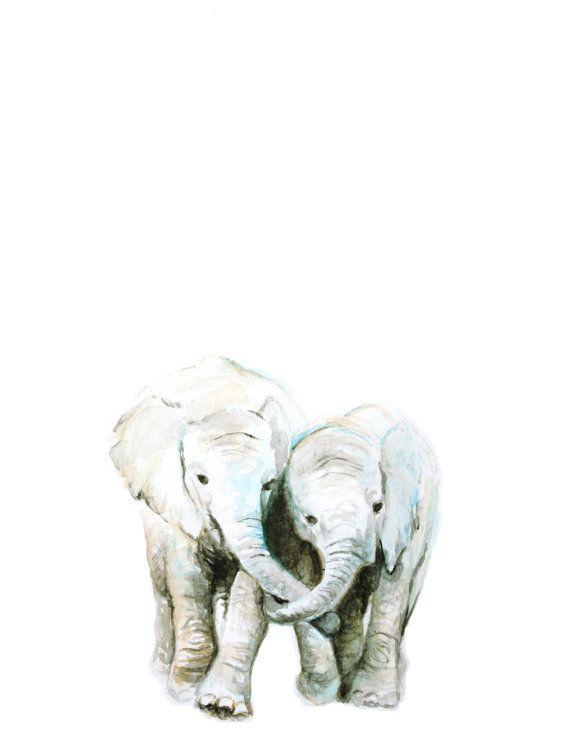 Elefante imprimir acuarela arte Animal del bebé bebé