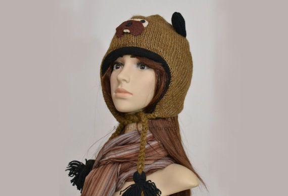 Beaver animal hat   warm hat  knit hat  beanie by HatsMittensEtc
