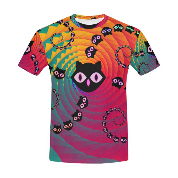 Rainbow Spiral Cats All Over Print T-Shirt for Men (USA Size) (Model T40)