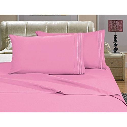 Light Pink Twin/Twin XL Sheet Set Deep Pocket Bedding Embroidered Stripe Comfortable Chic Elegant Solid Classic Breathable Soft Cozy Luxurious