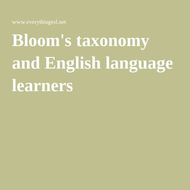 Bloom's taxonomy and English language learners