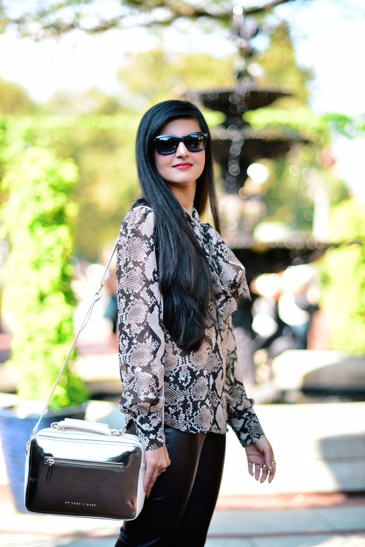 Animal Print & Faux Leather-003 http://zunera-serena.com/python-bow-blouse/