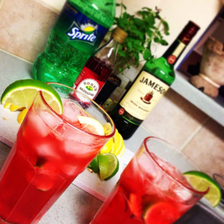 """The Sneaky Stanley"".... This drink sneaks up on you.  3 oz Jameson (or however much you need;) 1 oz grenadine (Gren-uh-dean!) Squeezes of lemon & lime to your taste Top it off with sprite Then drink till ya stink, And can't find the sink!"