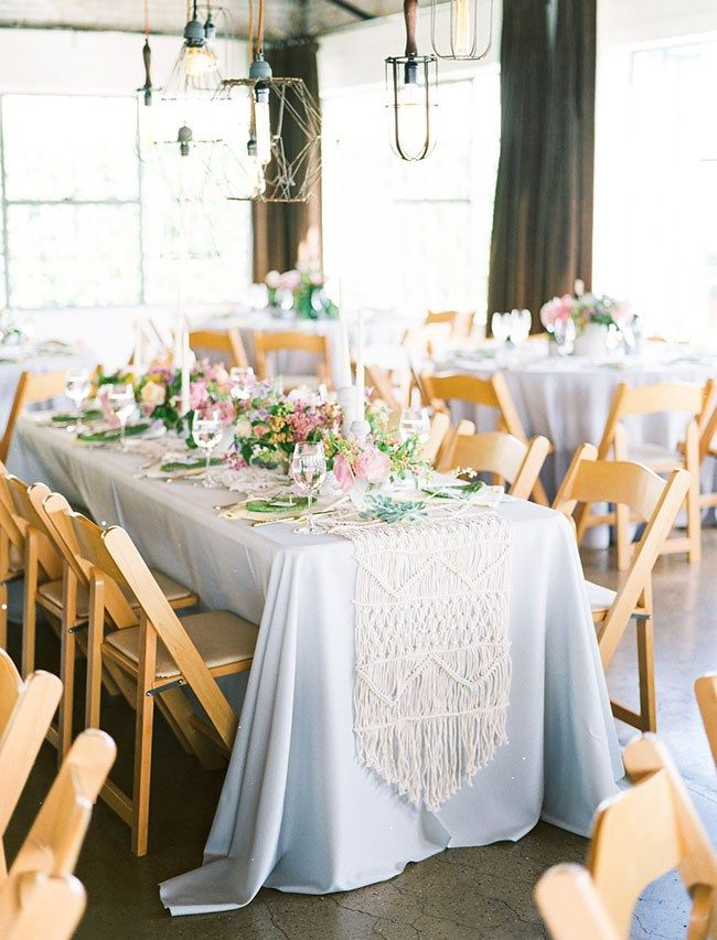 macrame table runner over table cloth