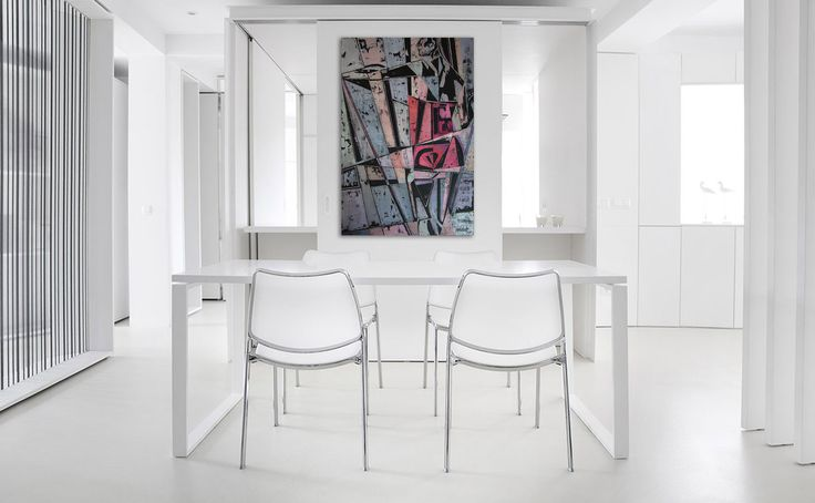 Dining room, white walls. Simple and elegant interior and art. Biała nowoczesna jadalnia i obraz. Contemporary painting of a fitness girl - 'Supergirl 4' @anialuk_art