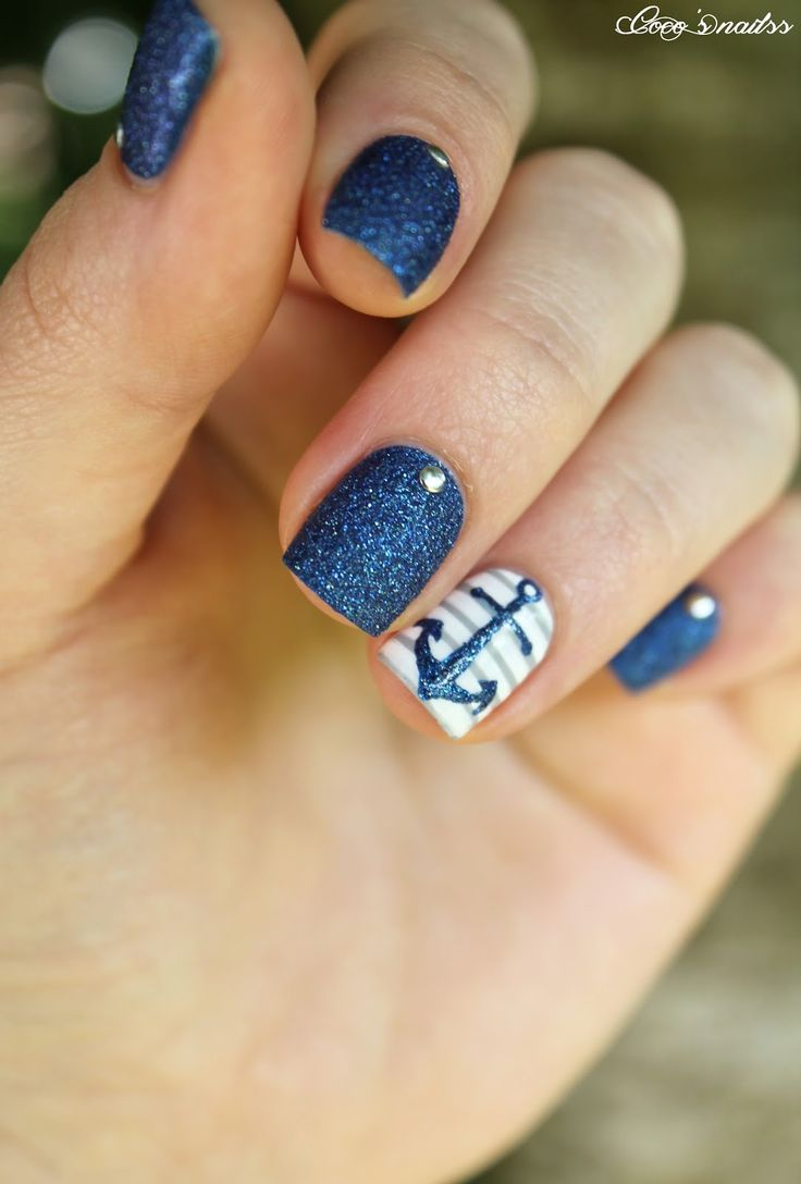 Blue Glitter and White with Rhinestone Accents Nautical Inspired Mani