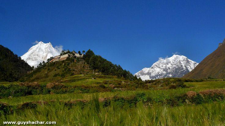 Mount Manaslu Nepal - Foto's van het dorp Lho 01/11/2011 Mount Manaslu is 8163 meter hoog en de 8ste hoogste berg ter wereld. Een mooie lange tocht rond deze berg en biedt een prachtig uitzicht van het bereik. Het dorp Lho, bij ~ 3200 meter, biedt een van de beste uitzicht punten op Manaslu. De berg biedt een majestueuze achtergrond van het dorp, dat wordt gedomineerd door een grote Gompa. Hier zijn een aantal standpunten van Manaslu in verschillende tijden van de dag.