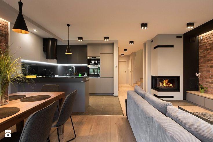 Dom Ruda Śląska - Salon - zdjęcie od www.archigrafia.com living room with kitchen inspi-ration | brick | industrial | fireplace | ideas |