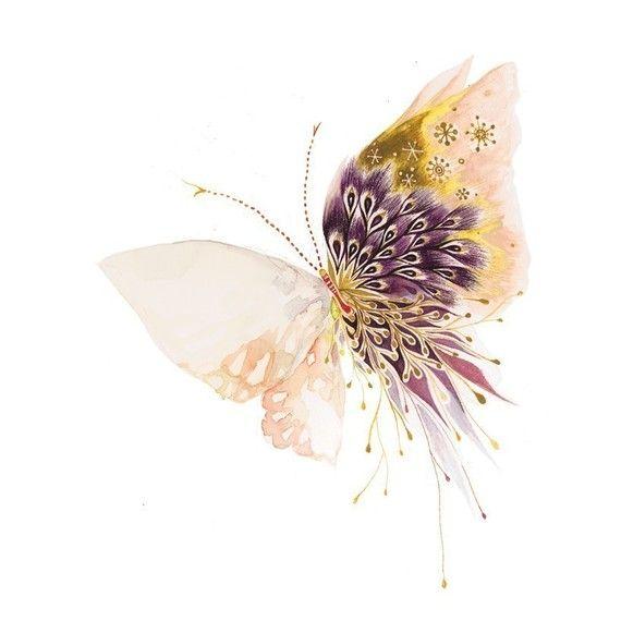 Butterfly - Print $20.00 #etsy #art #butterfly #purple #gold #pink