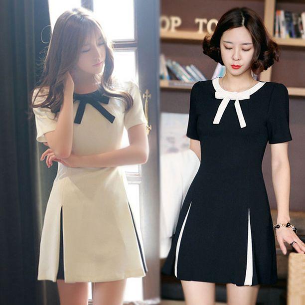 www.sanrense.com - Korean sweet bow short-sleeved dress
