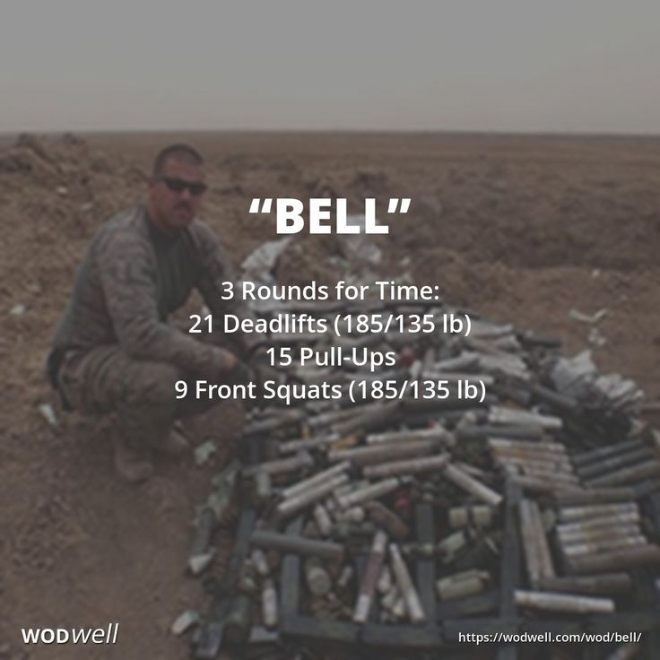 """BELL"" Hero WOD: 3 Rounds for Time: 21 Deadlifts (185/135 lb); 15 Pull-Ups; 9 Front Squats (185/135 lb). Originally posted on the CrossFit main site Friday, July 4, 2014."