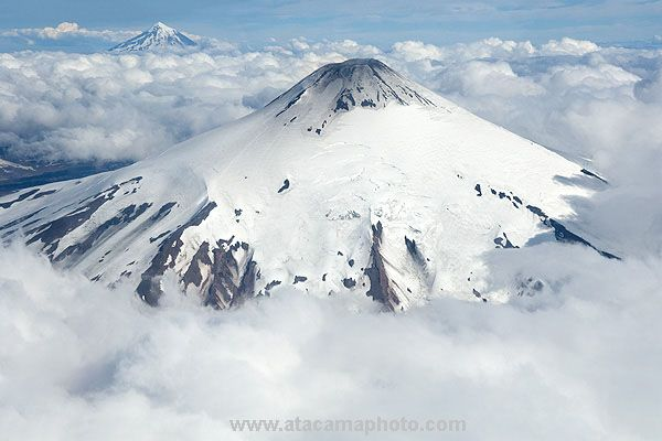 Aerial View of Villarica and Lanin volcanoes