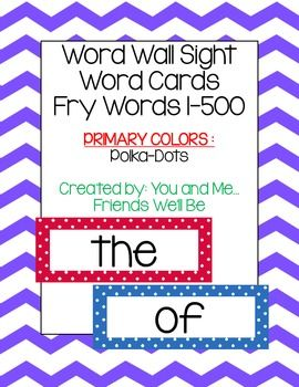 Word Wall Sight Word Cards 1-500 Primary Colors