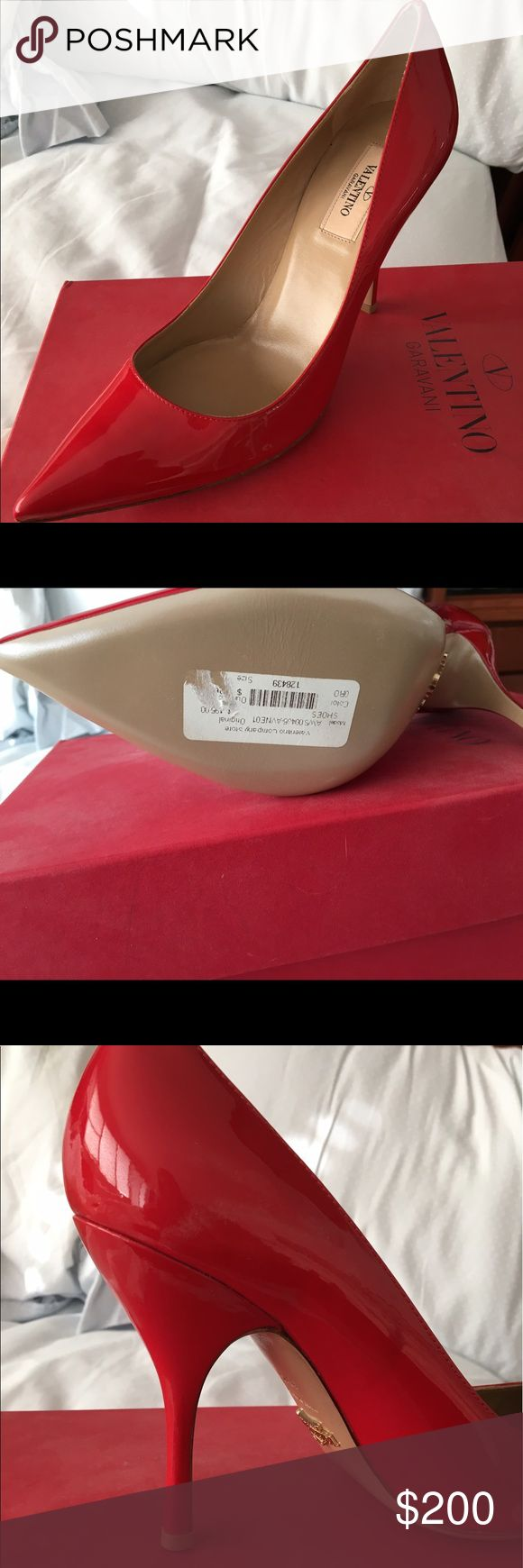 Brand new in box Valentino red patent heel Amazing fun heels to wear with dress or jeans. Brand new never worn with box and dust bag. Runs a bit small. I wear a nine. Valentino Shoes Heels