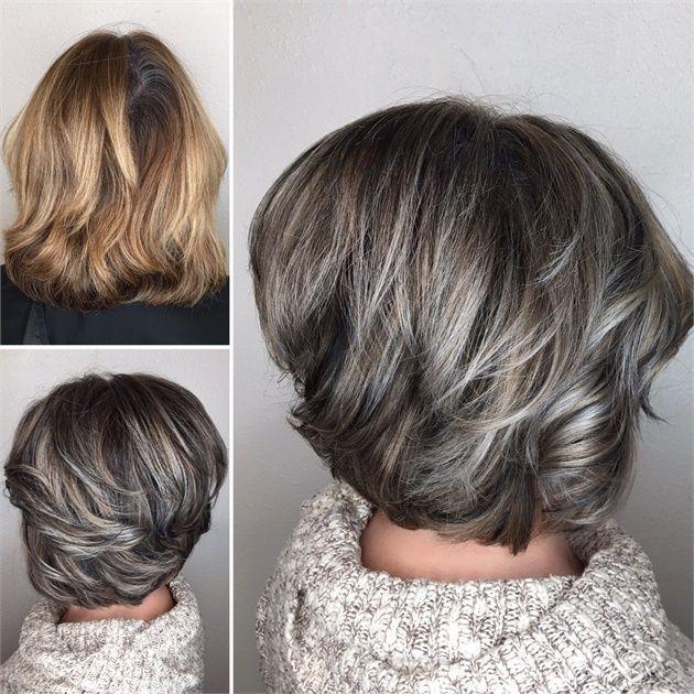 Makeover Gray Blending Asymmetrical Bob Gray Hair Highlights Blending Gray Hair Grey Hair Color