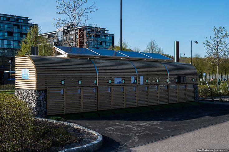Камни в металлической сетке вместо стены. Швеция. Фото: Илья Варламов. http://varlamov.ru
