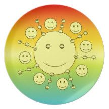 #Happy Smiling Sunny Faces, #Smiley Emoji #Dinner #Plate
