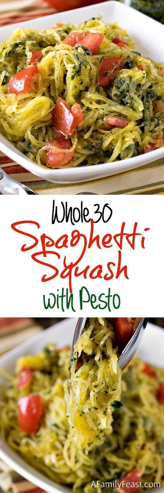 Whole30 Spaghetti Squash Recipe with Pesto