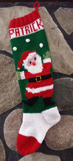 Vintage Knitted Christmas Stocking Juggling Santa by tracyward