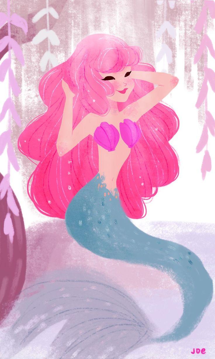 Pink hair mermaid