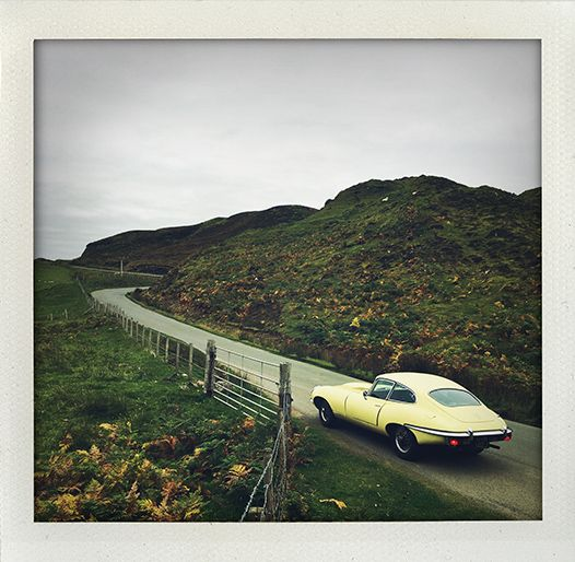 Jaguar E-type, Isle of Skye, Scotland.