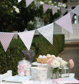 Glossy Paper Bunting: Pink & Blue Floral – Shop Sweet Lulu