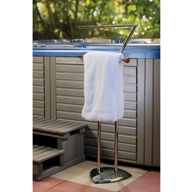 Life Freestanding Chrome Towel Holder, have your tower dry and ready when you get out. http://spastore.com.au/life-towel-holder-chrome/ #pool #spa #spapool #swimspa